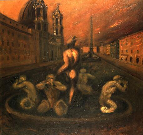 Scipione, Piazza Navona, Olio su tavola, 80x82cm, Galleria nazionale d'arte Moderna, Roma.